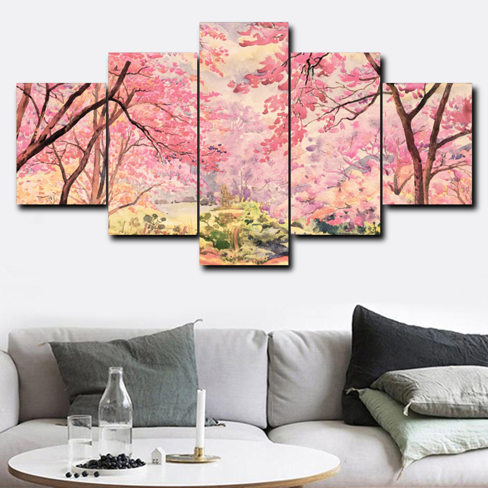 Laeacco Canvas Painting Calligraphy Pink Flower Tree Garden Posters and Prints Modular Wall Art Abstract Nordic Home Decoration in Painting Calligraphy from Home Garden
