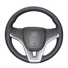 Cubiertas de volante de cuero Artificial para Chevrolet Cruze, negro, de PU, para Aveo, Orlando, Holden, Cruze, Ravon R4