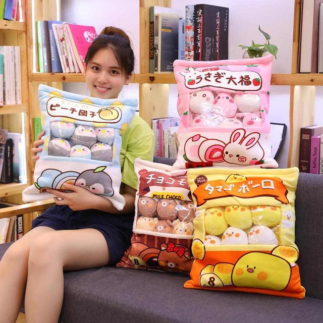 Nette Tiere Pudding Plüsch Spielzeug Mini Runde Bälle Küken Bär Pinguin Bunny EINE Tasche von Plushie 8 stücke Lebensmittel Snack spielzeug Plüsch Kissen