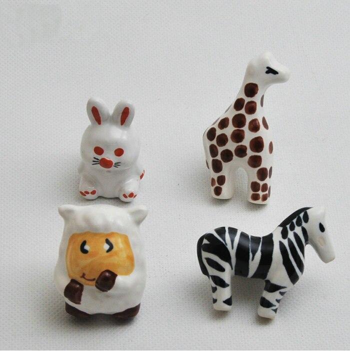 Lovely Childlike Ceramic Tropical Jungle Theme Cupboard Closet Cabinet Drawer Furniture Knob Handle For Nursery 4PCSSet