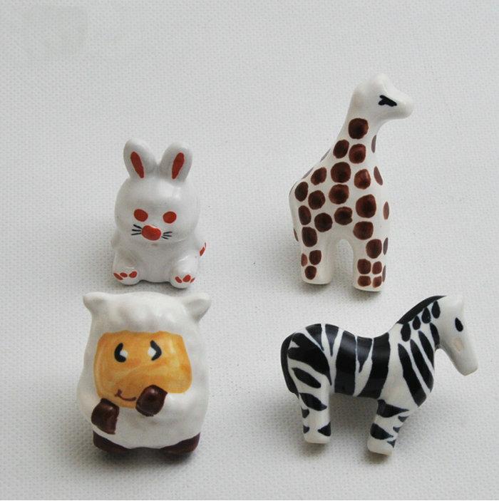 Lovely Childlike Ceramic Tropical Jungle Theme Cupboard Closet Cabinet Drawer Furniture Knob Handle For Nursery 4PCS/Set