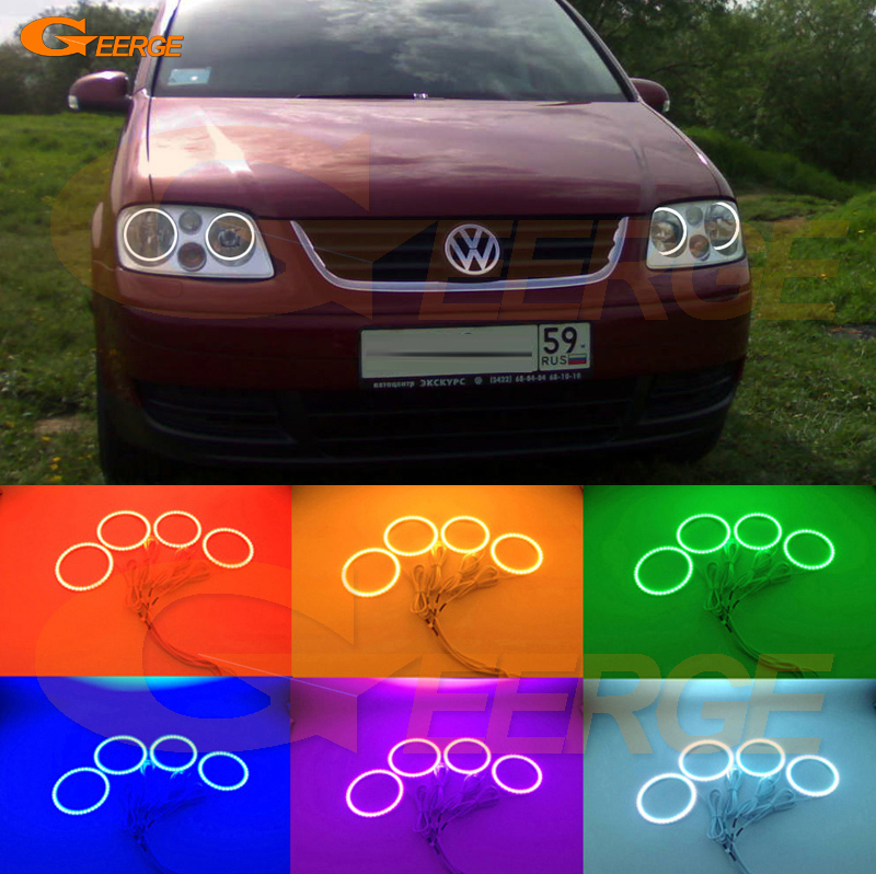 For Volkswagen VW Touran 2003 2004 2005 2006 Excellent Angel Eyes Multi-Color Ultra bright RGB LED Angel Eyes kit Halo Rings super bright led angel eyes for bmw x5 2000 to 2006 color shift headlight halo angel demon eyes rings kit