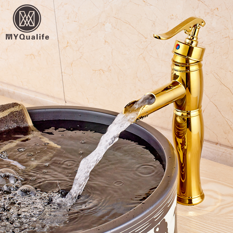 Luxury Waterfall Basin Faucet Single Handle Hole Bathroom Vessel Sink Mixer Tap Deck Mounted becola basin faucet luxury bathroom golden mixer single handle single hole deck mounted waterfall tap lt 509 free shipping