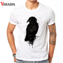 Men T-Shirt 3D Black Crow Print Summer Personality Short sleeve Round Neck White Printed Tee Shirts