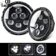 CO LIGHT 90W 7Inch LED Headlights Angle Eye Led DRL Led Round Headlights High Low Beam For Land Rover Lada 4x4 Niva Jeep Offroad(China)