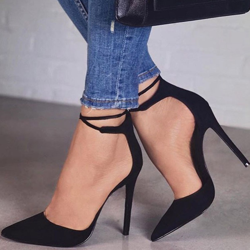 2018 Fashion Sexy Classic Woman Ankle Strap Shoes High Heels Women Sandals Big Large Size Shoes Female Ladies Strappy Pumps New hot selling fashion style ankle strap soft genuine leather casual shoes sexy high heels pumps party work dance shoes large size