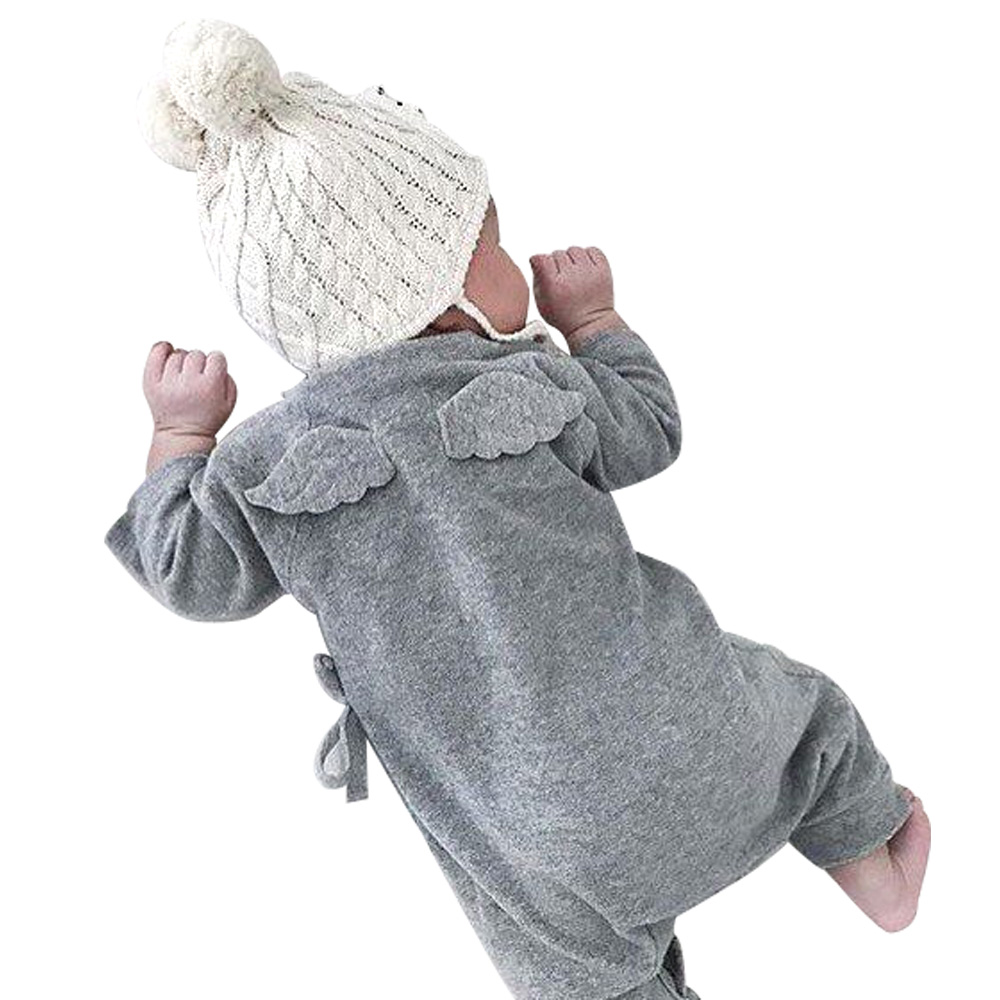 Baby Girl Boy Romper Tiny Cottons White Gray Long Sleeve Angel Wings Baby Clothes Newborn Jumpsuit Rompers Baby Onesie Costume newborn infant baby boy girl cotton romper jumpsuit boys girl angel wings long sleeve rompers white gray autumn clothes outfit