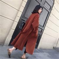 2019 New Medium long Women Woolen Coat Long Sleeve Thicken Woolen Coat Women Turn down Collar Open Front Parka Belt Coat