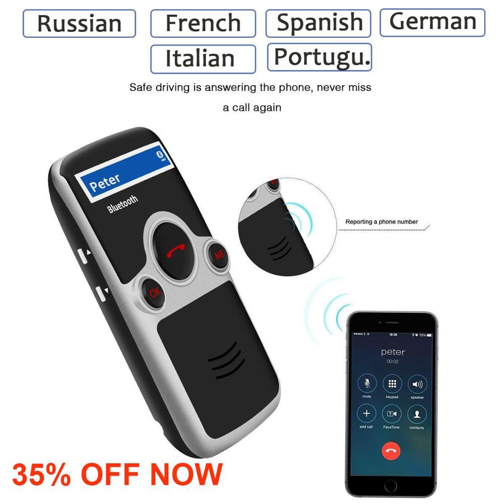 Siparnuo Aux Energia Solar Bluetooth Car Kit Viseira Mãos Livres Speakerphone com USB Bluetooth Russo Francês Espanhol Voz