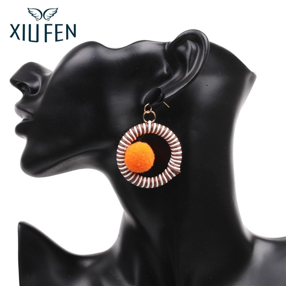 XIUFEN Earring Women Fashion Big Circular Ring Bright Color Earrings With Ear Stud Hot Selling Birthday Festival Gift Z25