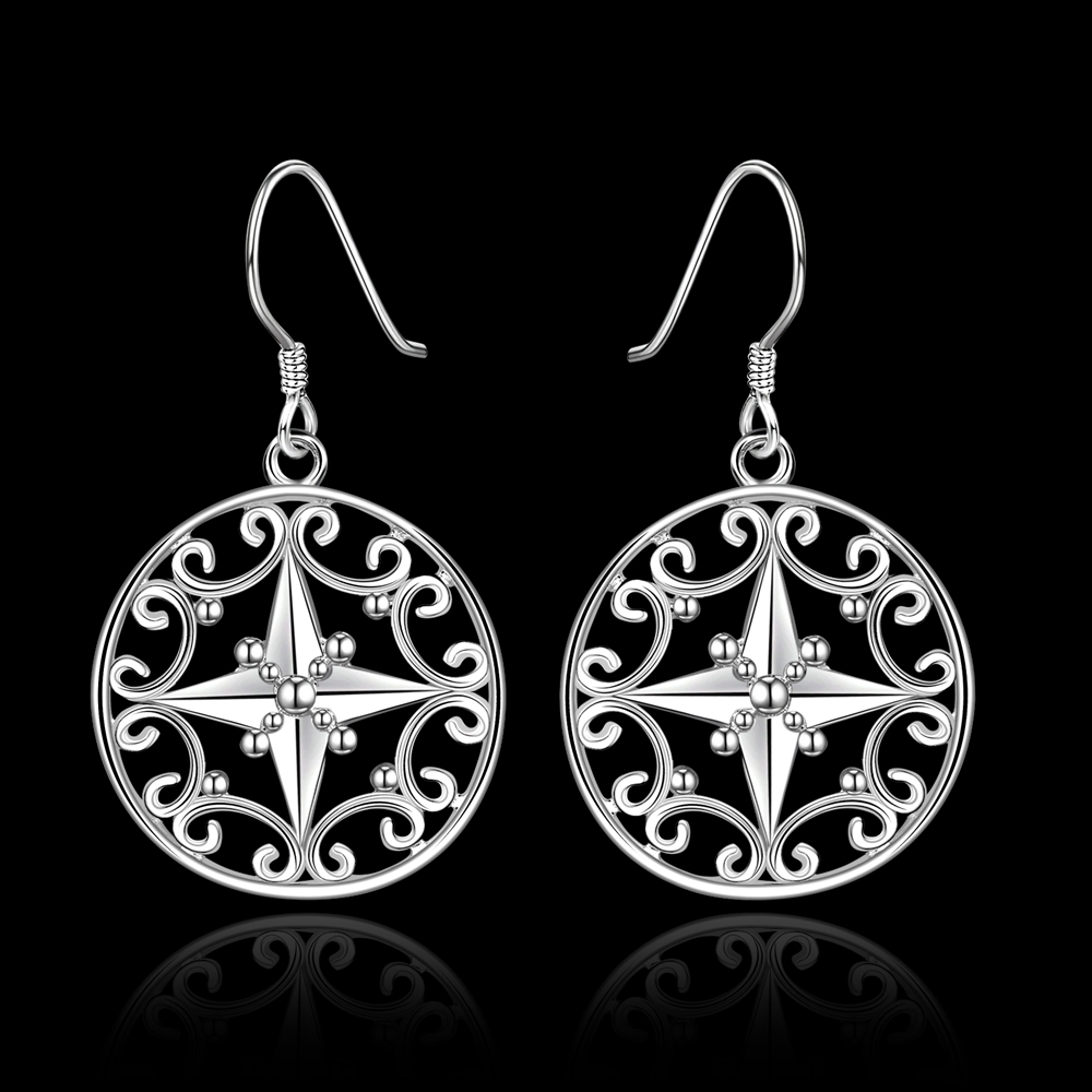 Vintage Retro Drop earrings 925 sterling solid silver e571 gift box Free Fashion New Jewelry accessary