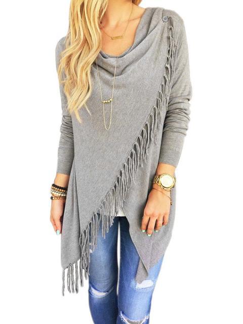 Women Long Sleeve Knitted Cardigan Loose Sweater Outwear Jacket tassels Coat New