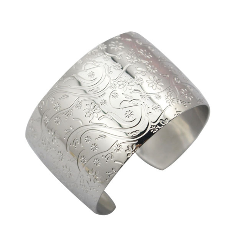 Fashion Jewelry Wide Cuff Bangle Bracelet Silver 316l Stainless Steel Bracelet Opened Cuff Bangles