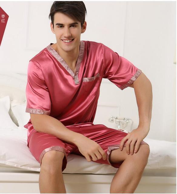 Envío Libre Naturaleza Sueño de Seda Superior Para Los Hombres Homewear ropa de Dormir Tapas del sueño 2017 Pura Comodidad Vestido Con Camisa de Manga Corta vestido