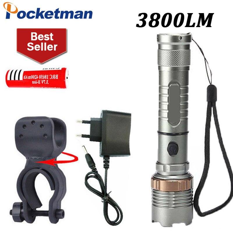 Светодиодный фонарик 3800lm CREE xm-l T6 светодиодный фонарик <font><b>zaklamp</b></font> свет велосипеда + 18650 Батарея + Зарядное устройство + Факел держатель Велосипедный&#8230;