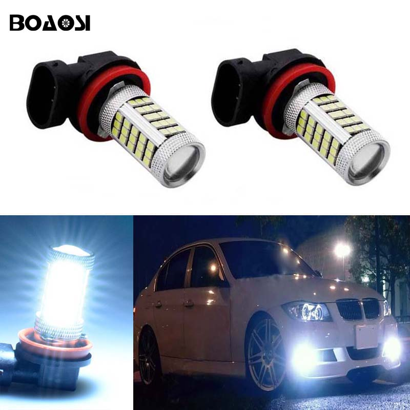 BOAOSI 2x Led H8 H11 Car Fog Driving Lamp Light Bulb For BMW E39 325 328 M mini SPORT boaosi 2x car led 9006 hb4 2835 66smd light bulb auto fog light driving lamp light for subaru wrx vs sti 2008 2013