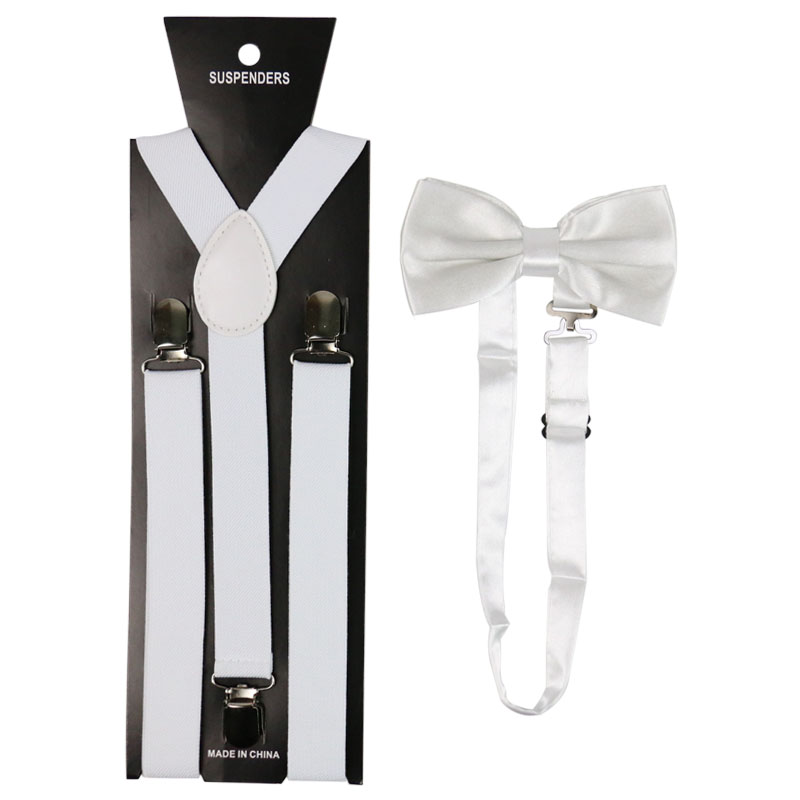 Winfox Fashion White Men Women Suspenders Braces Bow Tie Suspender Bowtie Set