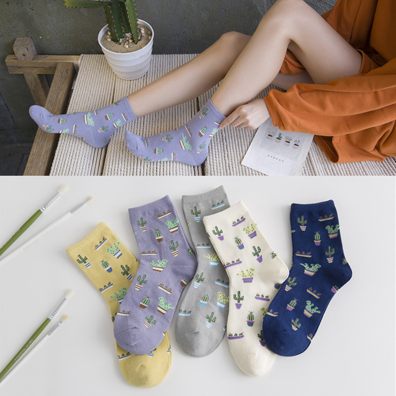 1Pair Fashion Women Plant Cactus Pattern Cacti Socks Plant Ball Cactus Harajuku Comfortable Lovely Girl Cotton Scok S-8