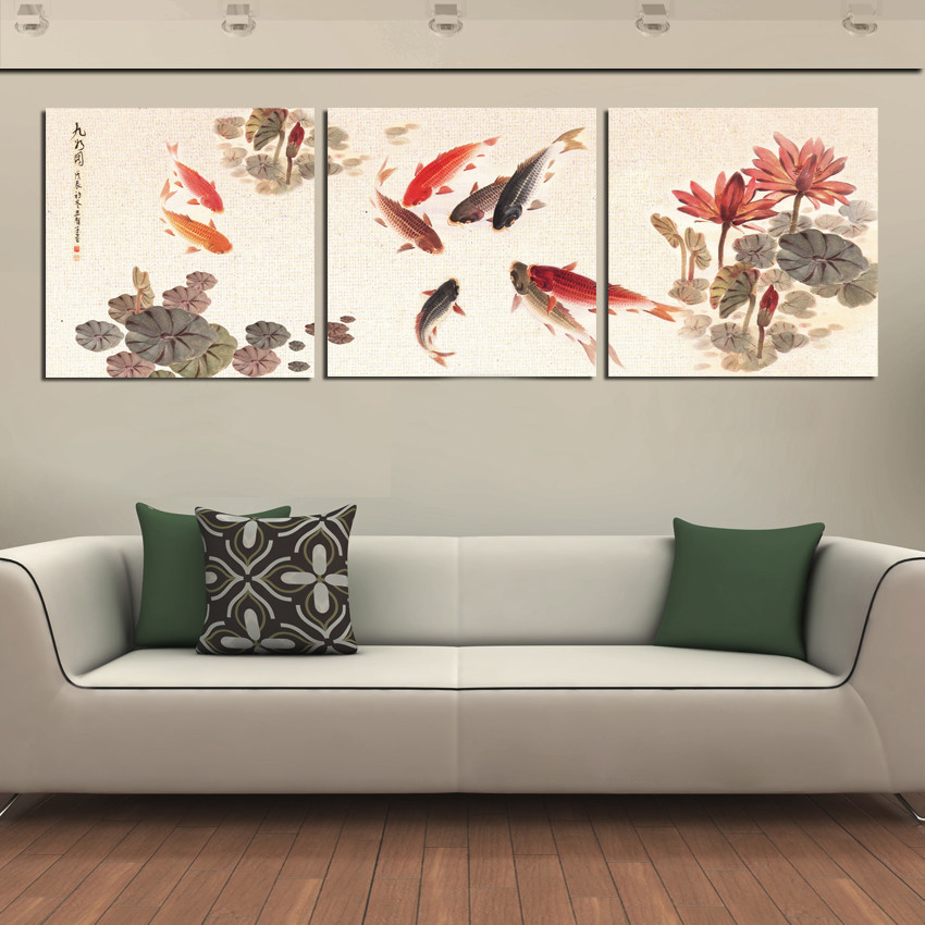 3 Piece Wall Art Picture Traditional Chinese Calligraphy Painting Koi Fish Lotus Canvas Prints For Living Room Decor No Frame