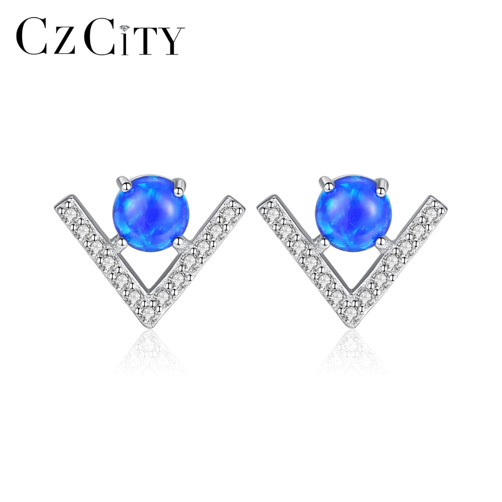 CZCITY Cute 100% 925 Silver Sterling Round Fire Opal Birthstone Stud Earrings For Women Brightly 3 Colors Party Earrings Jewelry
