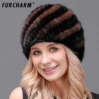 100 Real Mink Fur Hat For Women Warm Real Fur Knitted Pineapple Cap Elegant Real Fur