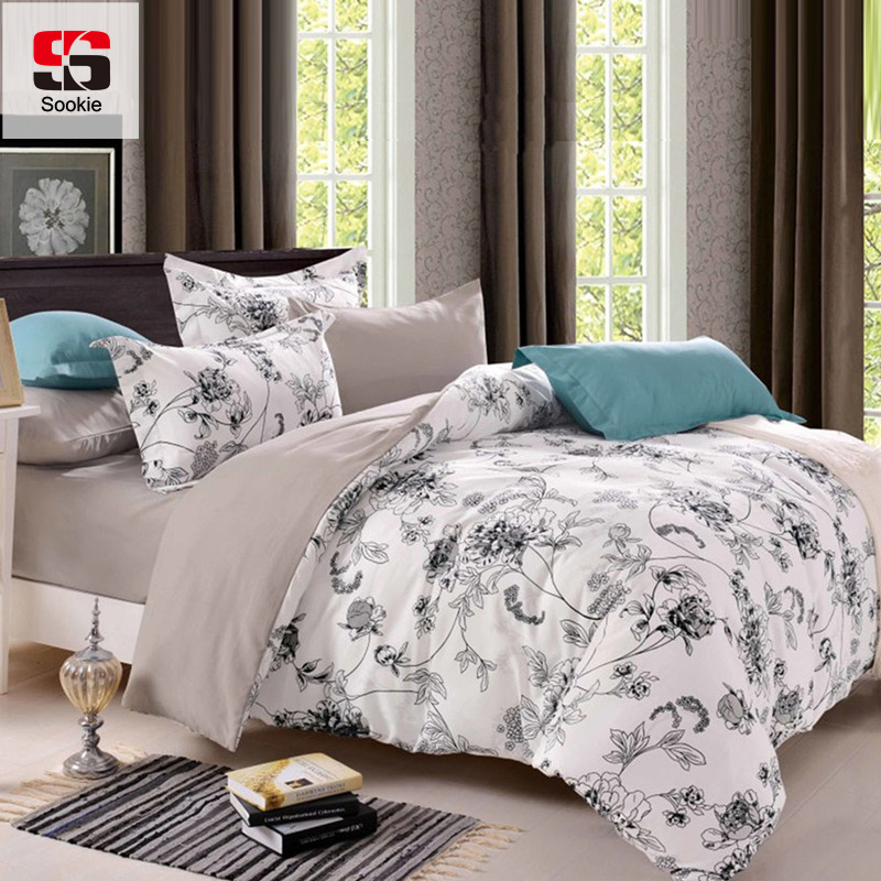 sookie queen size bedding sets pastoral bird printed floral king size duvet cover set pillowcases comforter
