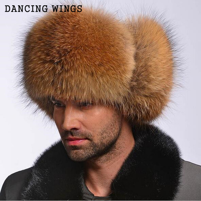 37bb4225e5c72 Winter Genuine Silver Fox Fur Hats Men Real Raccoon Fur Lei Feng Cap for  Russian Men Bomber Hats with Leather Tops