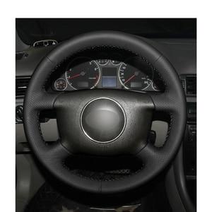 Черный PU искусственная кожа Чехол рулевого колеса автомобиля для Audi A2 (8Z) A3 (8L) spotback A4 (B5 B6) Avant A6 (C5) A8 (D2) S4