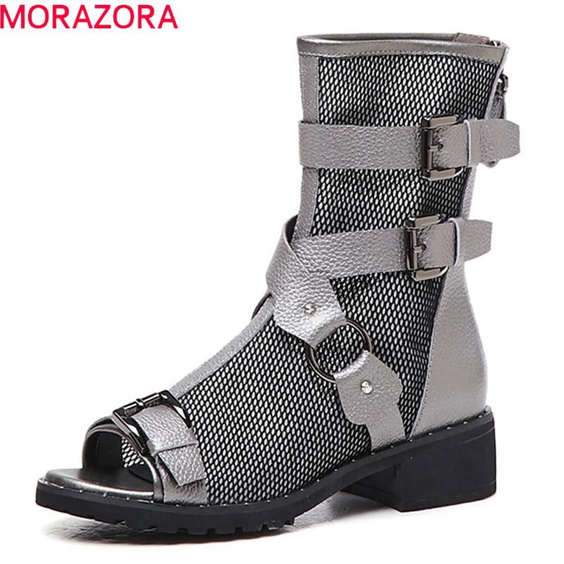 MORAZORA 最新の本革ブーツの女性オープンメッシュ夏ブーツバックル剣闘士の靴女性アンクルブーツビッグサイズ 40  グループ上の 靴 からの アンクルブーツ の中 1