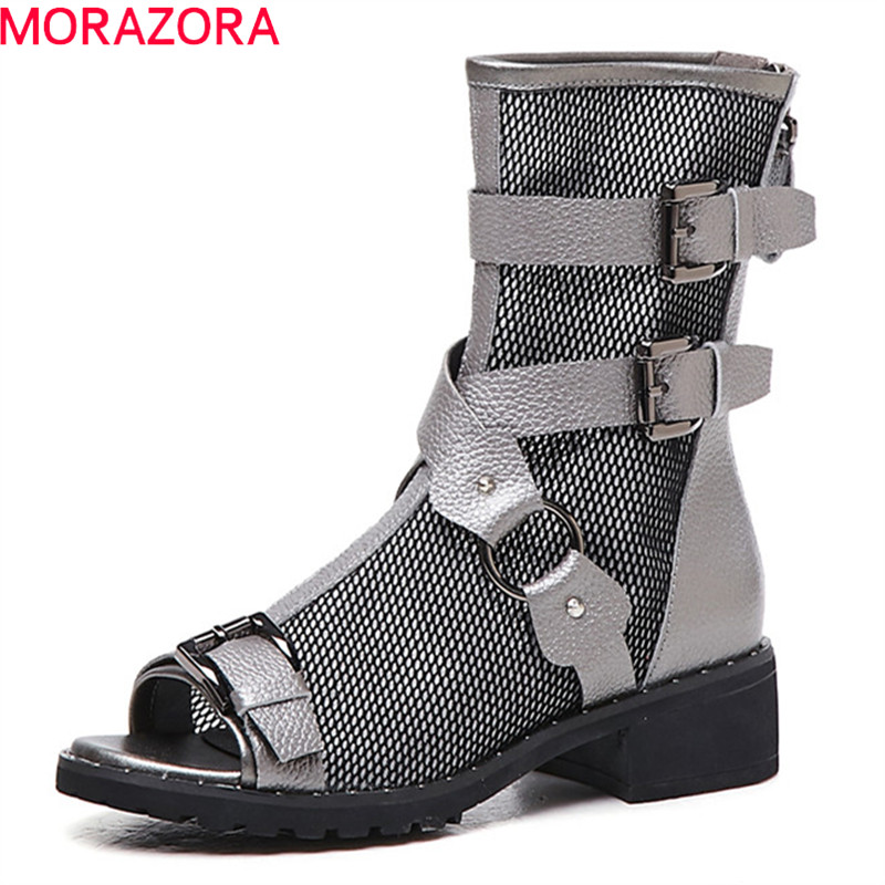 MORAZORA newest genuine leather boots women open toe mesh summer boots buckle gladiator shoes woman ankle boots big size 40MORAZORA newest genuine leather boots women open toe mesh summer boots buckle gladiator shoes woman ankle boots big size 40