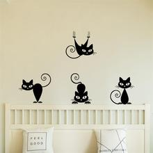 Lovely 4pc  Black Cute Cats Wall Sticker For Living Room Home Decoration Children Bedroom Home Decor Cute Wall Art Poster все цены
