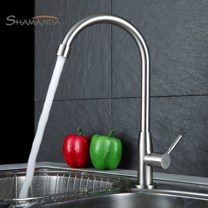 New Arrival 304 Stainless Steel Nickle Finished 360 Degree Rotation SUS 304 Single Cold Kitchen Faucet
