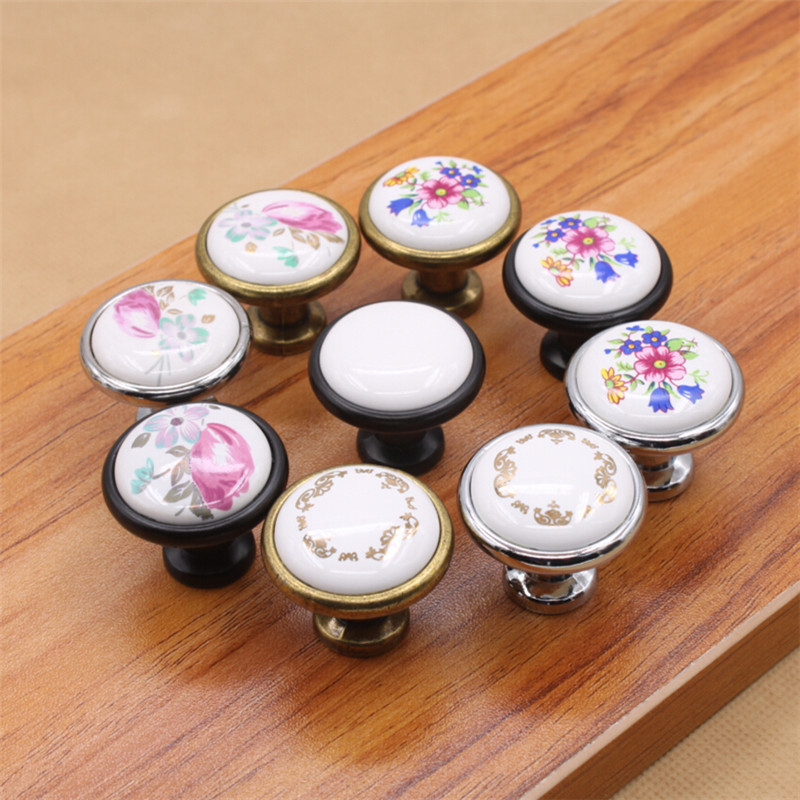 Hot selling Ceramic Zinc Alloy Kitchen Cabinet Furniture knob Cupboard Door Pulls Drawer Wardrobe Knobs Handles 5pcs/lot