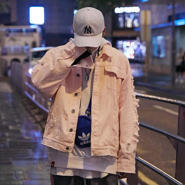 US $71 27 |Mens Pink Denim Bomber Jackets Ripped Holes Jeans Jacket  Streetwear Dope Autumn 2018 Skull Brain Distressed Denim Jacket Hip Hop-in  Jackets