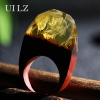Unique Yellow Original Resin Wooden Rings Fashion Women Girl Handmade Rings JWRP012