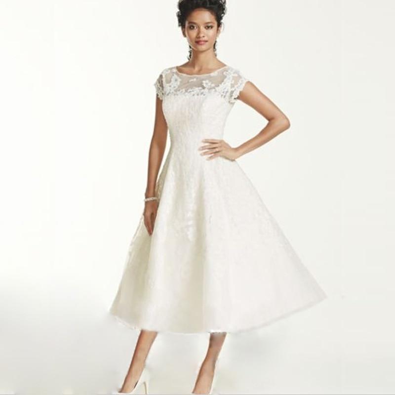Hot sale v neck beaded lace a line tea length short for Short wedding dress sale