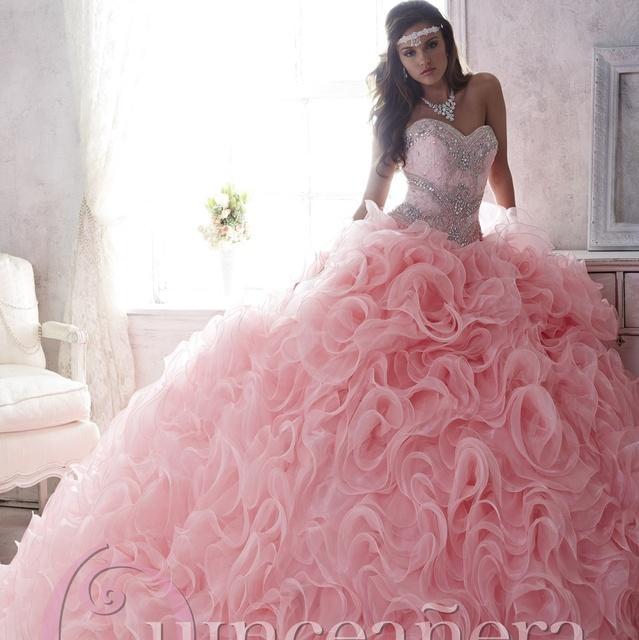 Moldeado cristalino Rosado Romántico Del Amor Del Cordón Faldas Vestidos de Quinceañera Ruffles Organza Beads Balón vestido de Encaje hasta Vestido de Fiesta 2017
