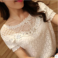 New 2016 Spring Women Short And Long Sleeve Fashion Lace Floral Blouse Shirts Hollow Out Diamonds Casual Tops Blusas Plus Size