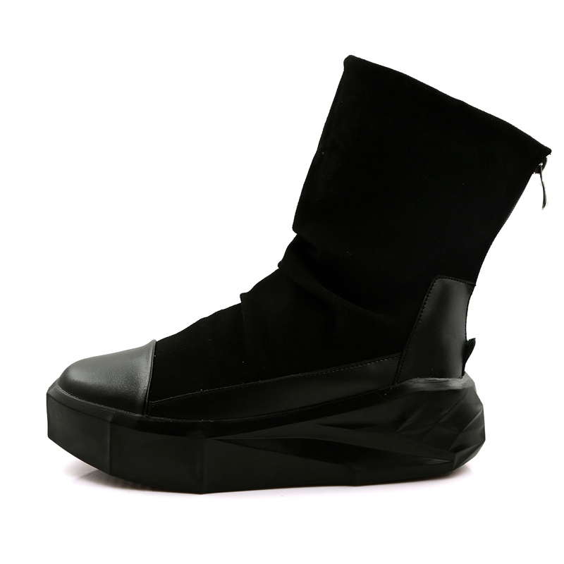 ed1a0256e8e US $27.99 30% OFF|New Owen Men 8cm Height Increasing Platform Boots Back  Zip Leather Shoes Male Mixed Colors Y3 High Top Black White Men's Boots-in  ...