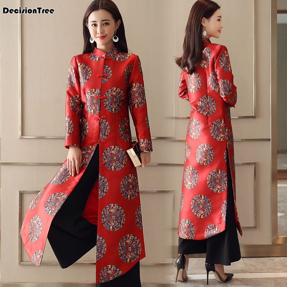 2019 Charming Retro Chinese Women Velour Cheongsam Dress Qipao Long Party Wear Cheongsam Chinese Dress For Women Aodai Dress