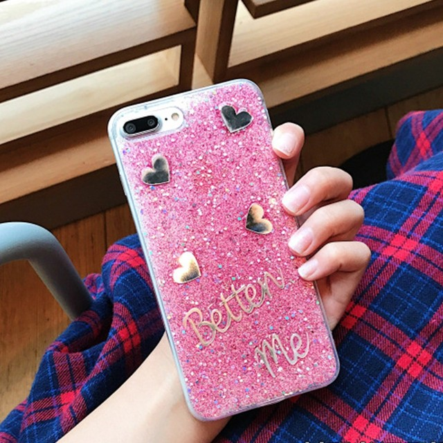 19ef50abd Mobile Phone Case with Glitter Powder Love Shape Beautiful Girls Pattern  Soft Silicone Phone Back Cover Case for iPhone 7/8 Plus