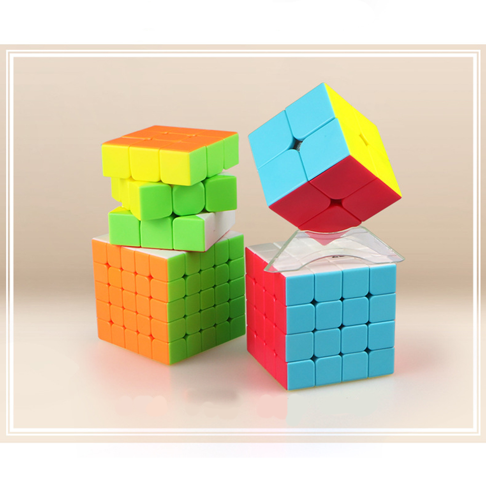 Qiyi 2x2 3x3x3 4x4x4 5x5 magic cube Positive Order Combination Suit Magic Cube Set Include for Brain Training - Colorful