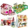 Original genuine 3d diy casa de férias villa jardim zoológico scenairo casa de jogo da boneca sylvanian