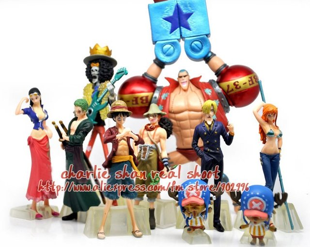 Free shipping Anime One Piece Childhood 4-18cm Luffy Sanji Robin Zoro Nami Usopp Franky Figure set of 10pcs with color box