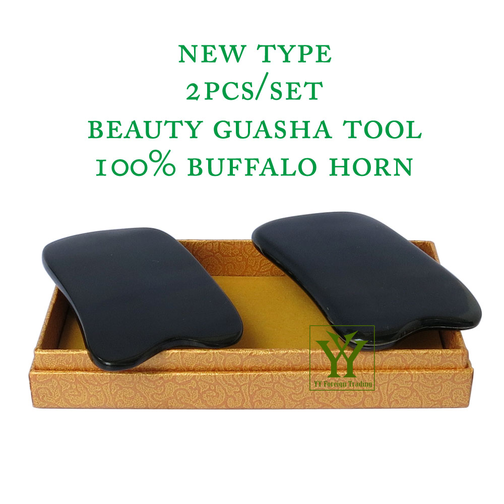 New Arrival 100% buffalo horn thicken high polishing beauty guasha tool 2pcs square plate new arrival 100