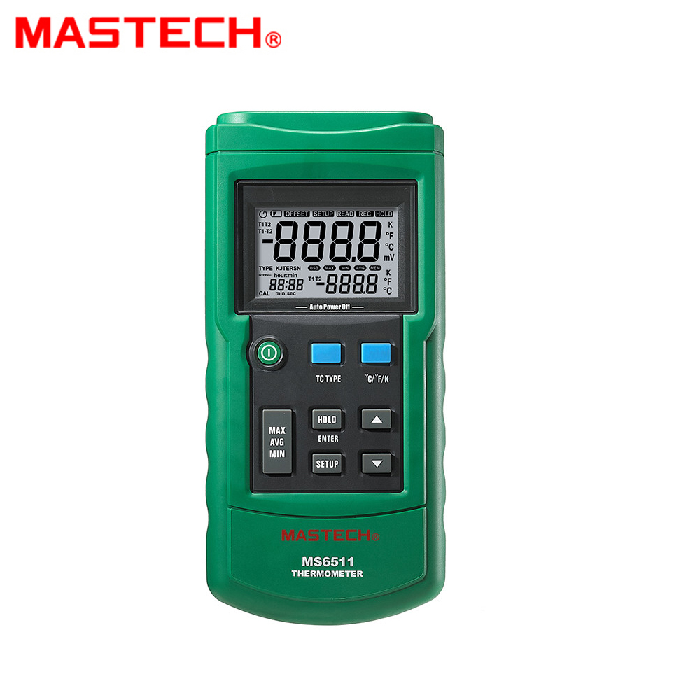 MASTECH MS6511 single channel digital thermometer J,K,T,E Thermocouple type temperature detector with Temperature probes