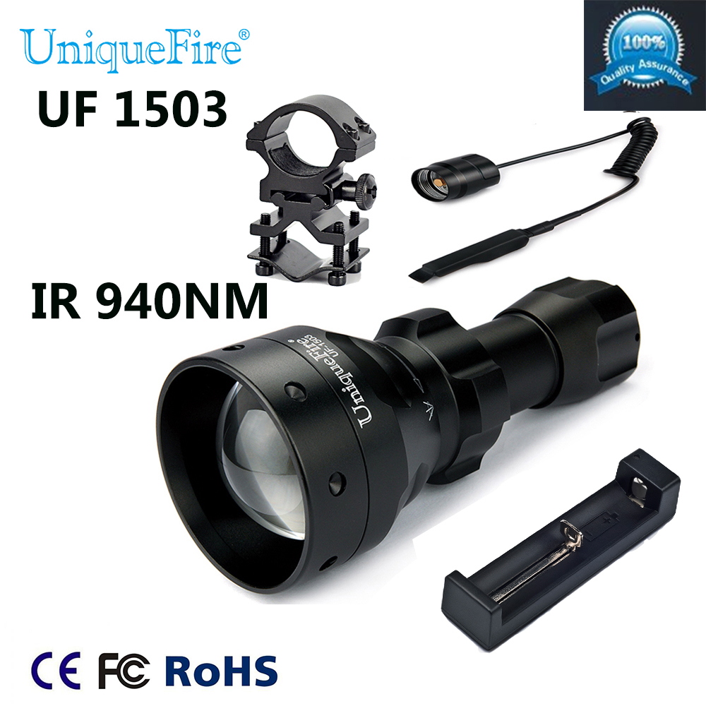 UniqueFire LED Torch 1503-940NM IR LED Adjustable Zoomable Flashlight+Tactical Remote+Charger+Scoep Mount For Outdoor Hunting waterproof flashlight uniquefire infrared night vision 1503 ir 940nm zoomable led flashlight charger tactical remote scope mount