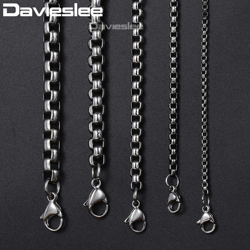Davieslee Mens Necklace Chain Gunmetal Tone Stainless Steel Round Box Link Wholesale Necklace for Men Fashion 2/3/4/5/6mm LKNM06