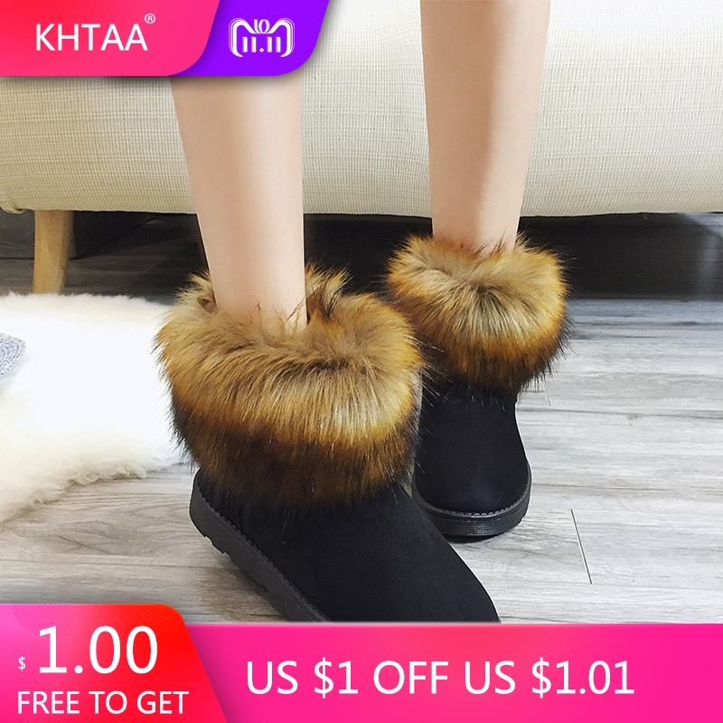 Women Winter Snow Boots Flat Platform Fur Plush Warm Flock Ladies Ankle Boots Shoes Low Heels 2018 New Fashion Female Footwear ekoak new women snow boots fashion winter boots warm plush ankle boots ladies platform shoes woman flock rubber boots