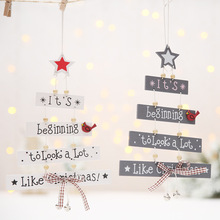 Wooden Christmas Tree Hanging Pendant Creative Party Decorations Ornaments for Xmas Home decoration